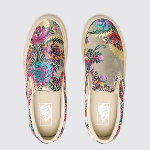 New Van's Gold Floral Slip On Shoes Size 7.5